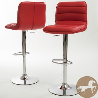 Christopher Knight Home Agoura Red PU Barstools (Set of 2)