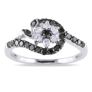 Miadora 10k Gold 1/2ct TDW Black and White Diamond Ring (G-H, I1-I2)