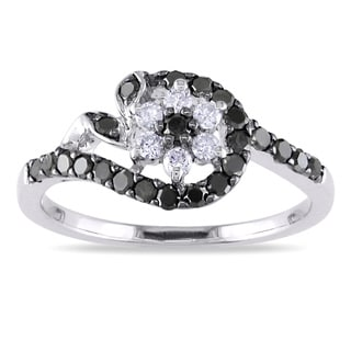 Miadora 10k Gold 1/2ct TDW Black and White Diamond Ring (G-H, I1-I2) with Bonus Earrings