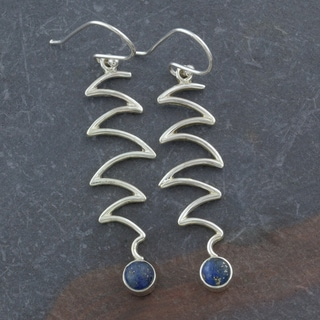 Lapis Lazuli Sterling Silver Long Dangle Waves Earrings (India)
