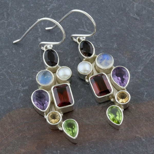 Multi Colored Gemstones Sterling Silver Dangle Earrings (India)