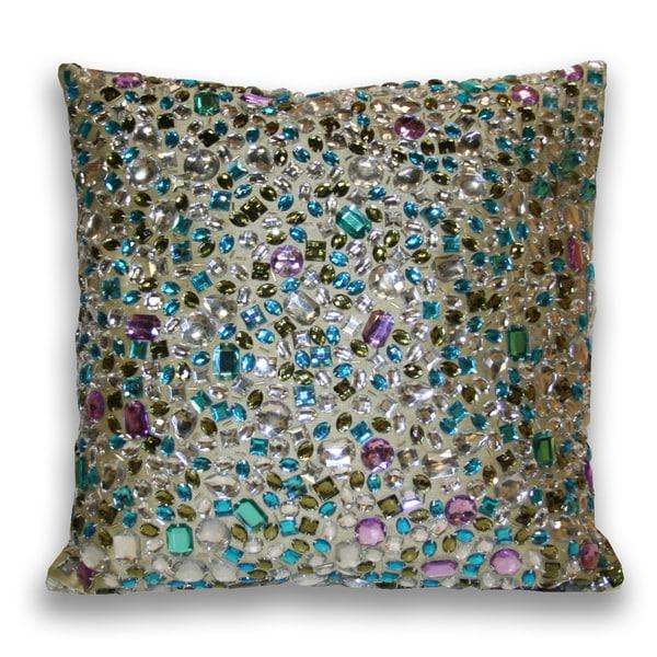 Marlo Lorenz Peacock Gemstone 16x16-inch Decorative Pillow