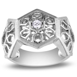 Miadora Sterling Silver 1/10ct TDW Round-cut Diamond Ring (G-H, I1-I2)