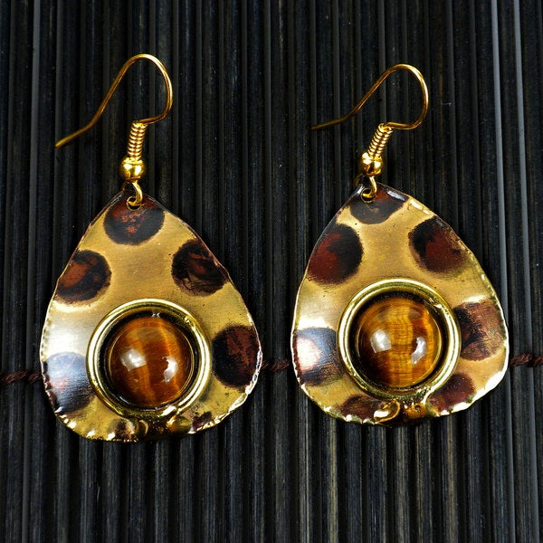 Handmade Brass Tigers Eye Spotted Earrings (South Africa)