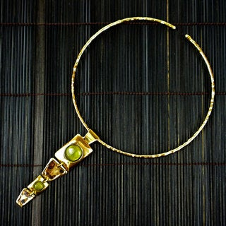 Green Tigers Eye Long Y Necklace Handmade in Brass (South Africa)