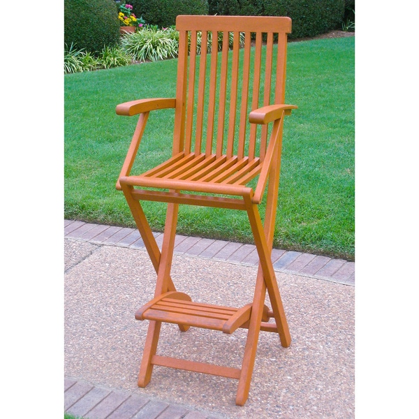 International Caravan Royal Tahiti Yellow Balau Bar Height Folding Arm Chairs (Set of 2)