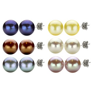 DaVonna High-luster Freshwater Pearl Stud Earrings (10-11 mm)