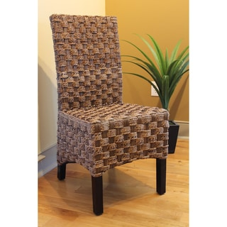 International Caravan 'Manila' Twisted Abaca High Back Mahogany Chairs (Set of 2)