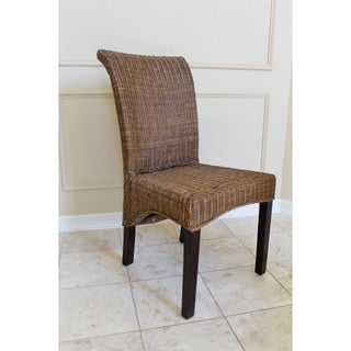 International Caravan 'Campbell' Woven Wicker High Back Chairs (Set of 2)