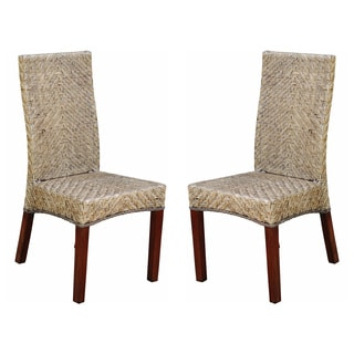 Joseph' Rattan Woven High Back Chairs (Set of 2)