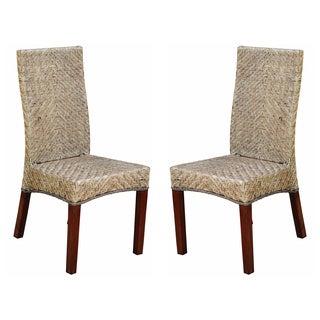 Joseph' Rattan Woven High Back Chairs (Set of 2)
