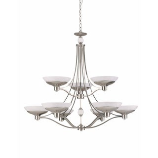 Contemporary 9-light Brushed Steel Chandelier