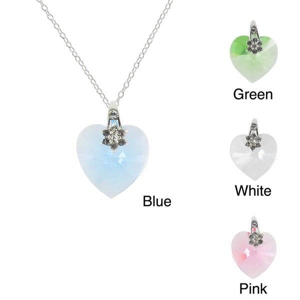 Sunstone Sterling Silver Faceted Heart Necklace Made with SWAROVSKI ELEMENTS