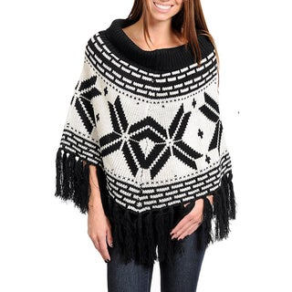 Stanzino Women's Scoop Neck Cable Knit Poncho with Fringe Detail