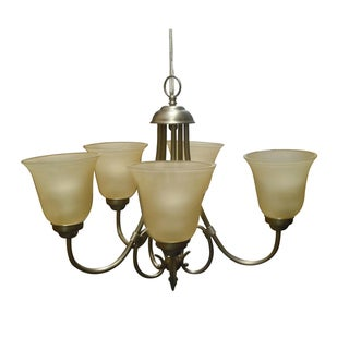Tea-stained Glass 5-light Satin Nickel Chandelier