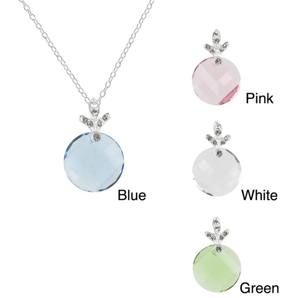 Sunstone Sterling Silver Round Faceted Necklace Made with SWAROVSKI ELEMENTS
