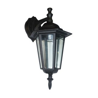 Clear Beveled Glass 1-light Black Outdoor Wall Lantern