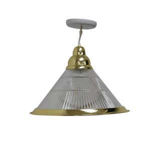 Polished Brass Ribbed One-light Pendant Fixture