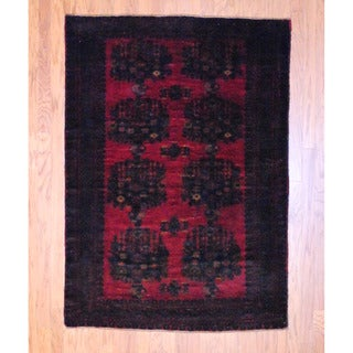 Afghan Hand-knotted Balouchi Burgundy/ Black Wool Rug (4'6 x 6'5)