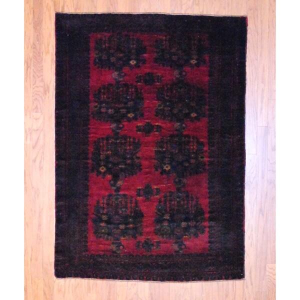 Herat Oriental Afghan Hand-knotted Balouchi Burgundy/ Black Wool Rug (4'6 x 6'5)