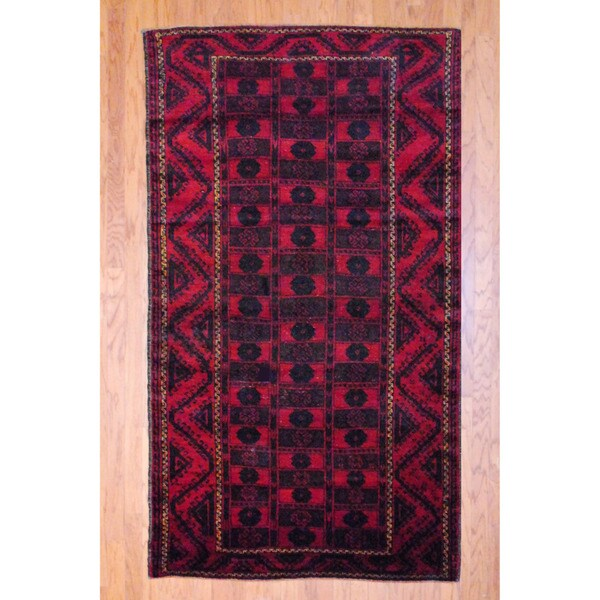 Afghan Hand-knotted Balouchi Red/ Black Wool Rug (4'8 x 7'11)