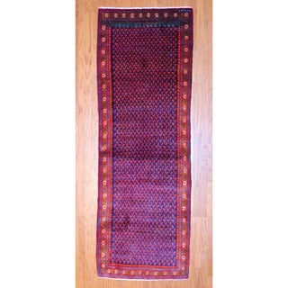 Persian Hand-knotted 1970's Hamadan Mir Navy/ Red Wool Runner (3'6 x 10'5)