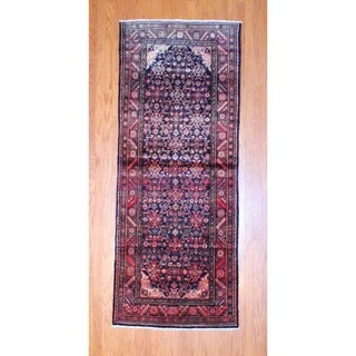 Persian Hand-knotted 1950's Hamadan Black/ Rust Wool Runner (3'8 x 9'3)