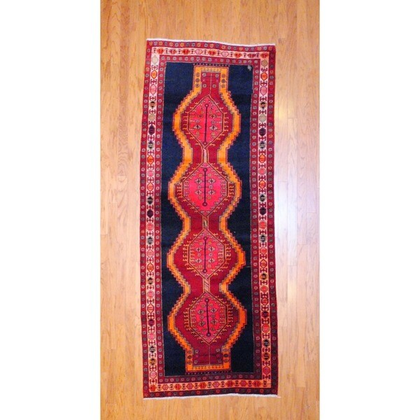 Persian Hand-knotted 1970's Hamadan Navy/ Gold Wool Runner (3'7 x 9'4)