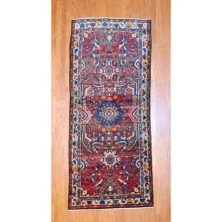 Persian Hand-knotted 1960's Hamadan Brown/ Red Wool Runner (4' x 9'5)
