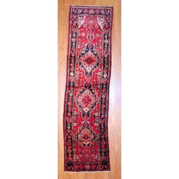 Persian Hand-knotted 1970's Hamadan Red/ Black Wool Runner (3'6 x 13')