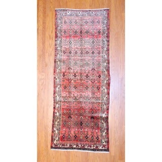Persian Hand-knotted 1960's Hamadan Peach/ Black Wool Runner (3'10 x 9'7)