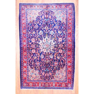Persian Hand-knotted 1960's Hamadan Blue/ Red Wool Runner (4'7 x 7'3)