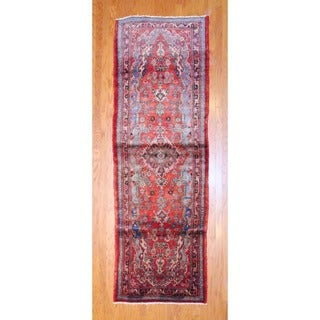 Persian Hand-knotted 1960's Hamadan Rust/ Light Blue Wool Runner (3'6 x 10'6)