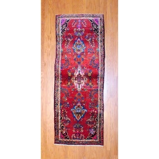 Persian Hand-knotted 1960's Hamadan Red/ Light Brown Wool Runner (3'7 x 9'4)