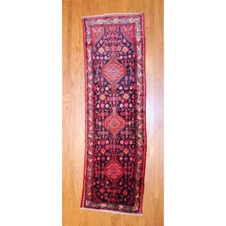 Persian Hand-knotted 1970's Hamadan Black/ Red Wool Runner (3'3 x 10'7)