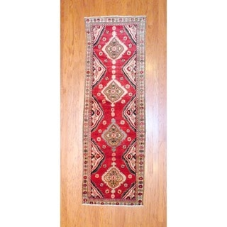 Persian Hand-knotted 1960's Hamadan Burgundy/ Black Wool Runner (2'10 x 8'10)