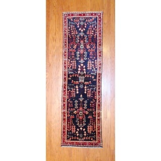 Persian Hand-knotted 1970's Hamadan Navy/ Red Wool Runner (2'10 x 9'10)