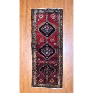 Persian Hand-knotted 1960's Hamadan Burgundy/ Black Wool Runner (3'8 x 9'4)