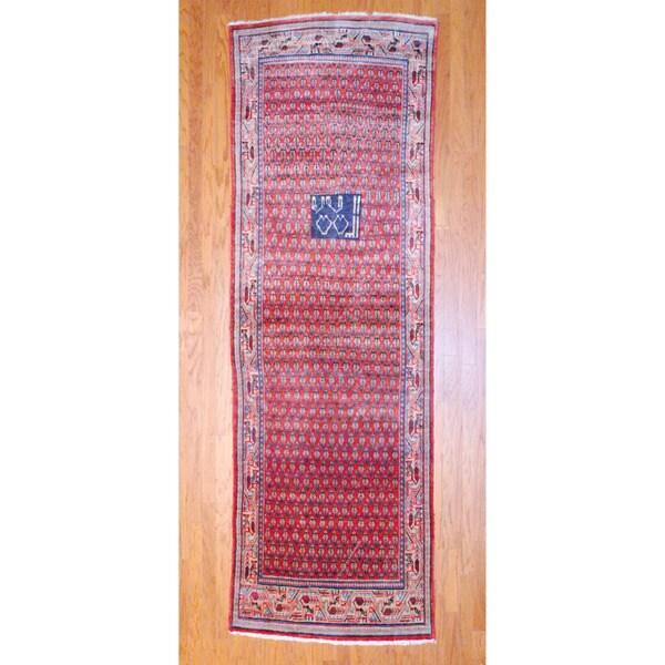 Persian Hand-knotted 1960's Hamadan Mir Rust/ Ivory Wool Runner (3'6 x 11'5)