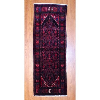 Persian Hand-knotted 1970's Hamadan Black/ Red Wool Runner (3'7 x 10')