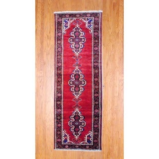 Persian Hand-knotted 1960's Hamadan Burgundy/ Navy Wool Runner (3'5 x 10')