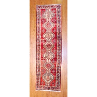 Persian Hand-knotted 1960's Hamadan Red/ Ivory Wool Runner (3'7 x 12'1)