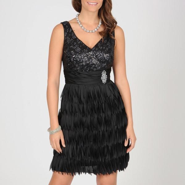 Ignite Evenings Women's Black Sequin/ Fringe Evening Dress