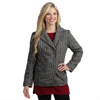 Live a Little Women's Black and White Textured Peacoat