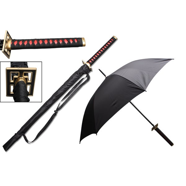 Samurai Handle Red Fusui 44-inch Span Umbrella (Feng Shui)