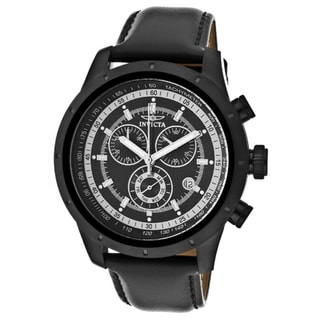 Invicta Men's 'Specialty' Black Genuine Leather Watch
