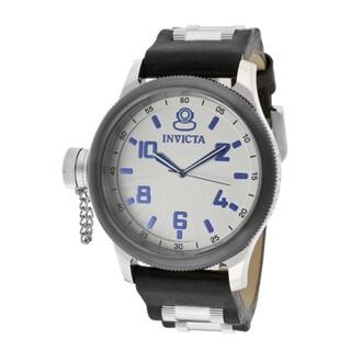 Invicta Men's 'Signature/Russian Diver' Black Genuine Leather Watch