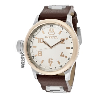 Invicta Men's 'Signature/Russian Diver' Brown Genuine Leather Watch