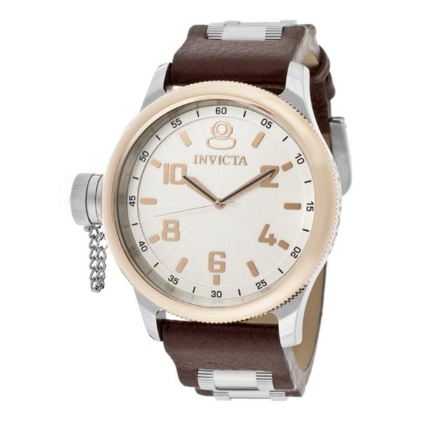 Invicta Men's 'Signature/Russian Diver' Brown Genuine Leather Watch