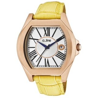 a_line Women's 'Adore' Yellow Genuine Leather Watch